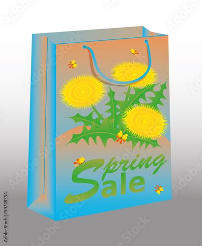 Spring Sale shopping bag with dandelion, vector illustration