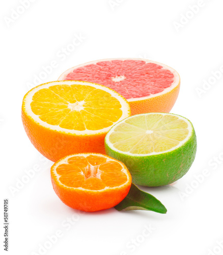 Half of fresh citrus fruits, isolated on white background