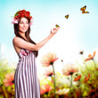 Frühlingsbotin mit Schmetterlingen