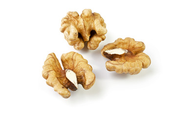 Walnuts, isolated over white