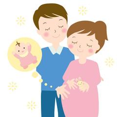 妊婦さんとパパと赤ちゃん A pregnant woman and a baby