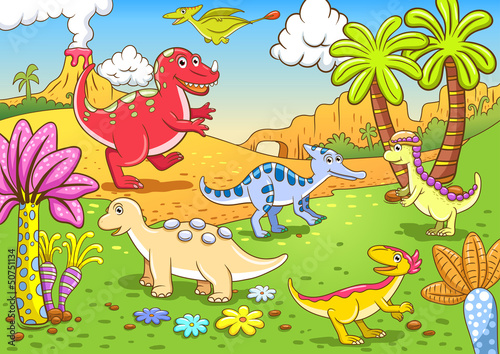 Foto op Plexiglas Dinosaurs Cute dinosaurs in prehistoric scene