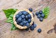 wild blueberries in a little basket