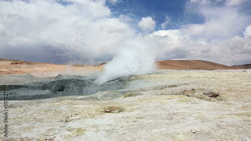 Field Sol de Manana with smoking geyser in Bolivia