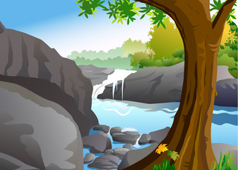 Waterfall with rocks and tree in foregrond