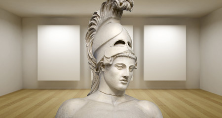 Empty gallery, 3d room with greek sculture, Ancient Statue, Peri