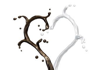 splash of milk and chocolate heart shape