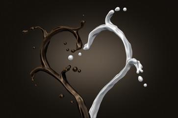 splash of milk and chocolate heart shape