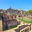 Roman forum ruins panorama. Unesco heritage site. Rome, Italy.