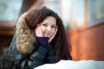 Portrait of a beautiful girl in winter
