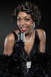 Vintage jazz woman singing. Black african american.