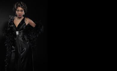 Vintage jazz woman singing. Black african american. Drink and sm