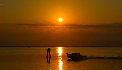 Fisherman at sunrise - Chioggia - Venice - Italy