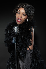 Vintage jazz woman singing. Black african american.