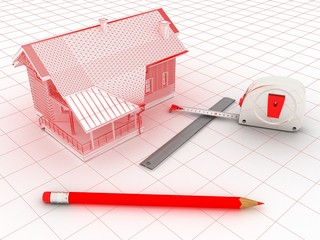 3-d model of a house, a ruler, a tape measure,