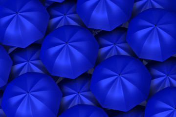 3d blue umbrellas background