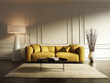 Contemporary elegant living room, yellow sofa, wood floor