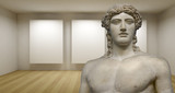 Empty gallery, 3d room with greek sculture, Ancient Statue