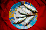 Fresh atlantic mackerel fish on dish