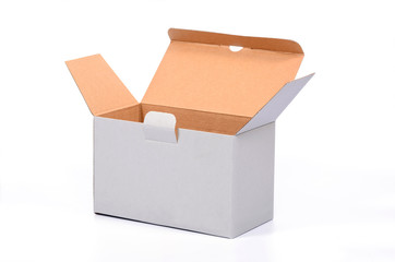Open empty recycled cardboard box
