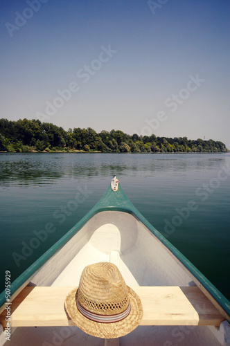 Bow of a canoe on the river Sava near Belgrade , Serbia