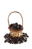 Coffee beans and basket