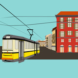 City Break, vector background with a tram and old high street fo