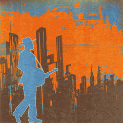 Big city  Blues Guitar Concert, Vector Poster or Flyer for an Ac