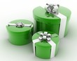 three Large , WHITE gift boxes with GREEN ribbons