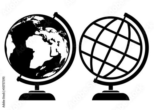 剪影图标地图地球地点孤立学校学习对象插图教育星球