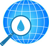 icon with blue planet, magnifier and drop silhouette