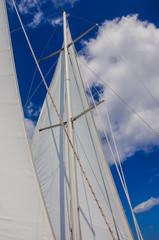 White Sail Against Blue Sky