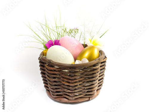 Easter egg in the basket with flowers