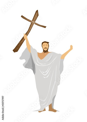 Jesus Christ Praying with A Wooden Cross.