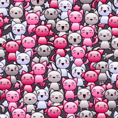 Seamless pattern with cute kawaii doodle cats.