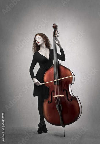 woman playing contrabbass