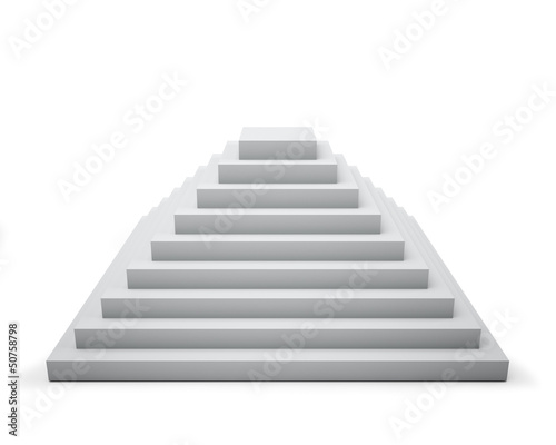 3D white step pyramid isolated on white
