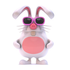 White rabbit with pink sunglasses