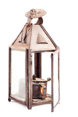 Old rusty oil lamp isolated