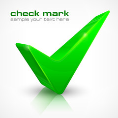 Green check mark isolated on white, vector illustration