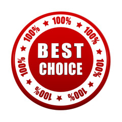 best choice 100 percentages in white red circle label