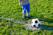 Little child about to kick off