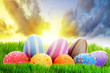 Colorful Easter eggs on the perfect meadow