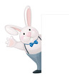 Vector of funny rabbit isolated hiding by bank..