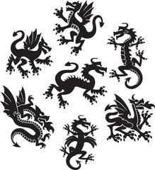 Series of medieval-styled dragon symbols