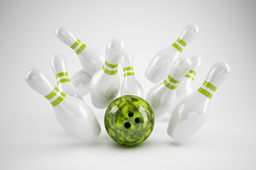 Bowling Strike grün/weiss