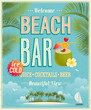 Vintage Beach Bar Poster. Vect...