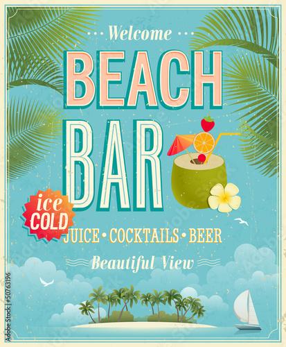 Fototapeta Vintage Beach Bar poster. Vector background.