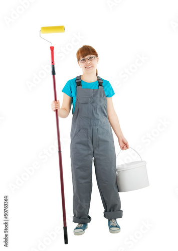 Home repair woman isolated