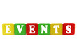 events - isolated text in wooden building blocks